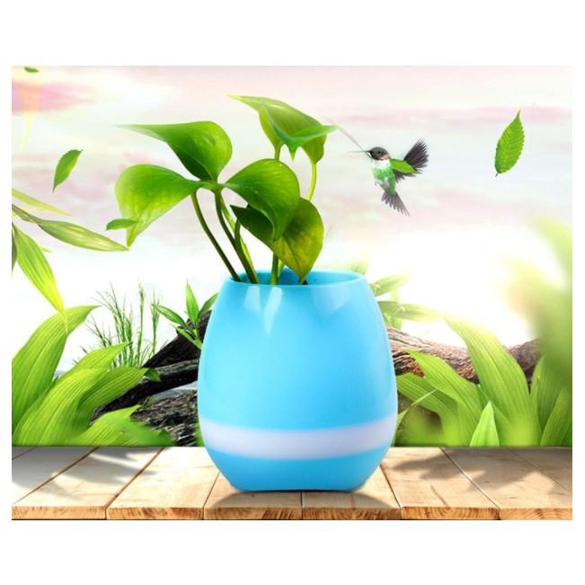 Bình trồng cây phát nhạc kết hợp loa Bluetooth, kiêm đèn ngủ (Xanh Dương)
