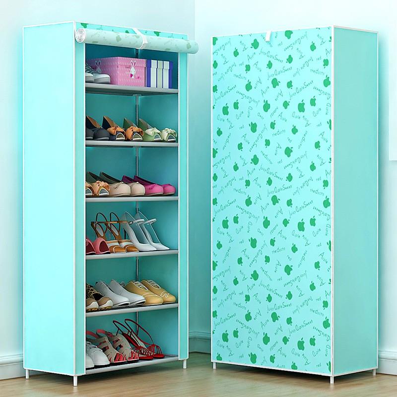 Kệ giày 7 tầng 3d họa tiết hoa xinh xắn ( xanh, hồng)
