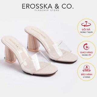 De p mule cao gót quai trong Erosska thời trang mu i vuông gót trong cao 9cm màu nude _ EM040 thumbnail