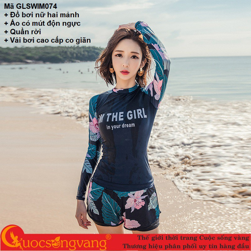 Bộ bơi nữ kiểu dài tay đồ bơi nữ 2 mảnh đẹp chống gió quần rời GLSWIM074