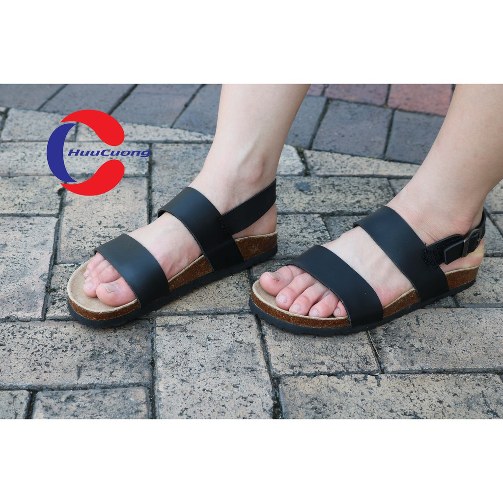 Hình ảnh Sandal unisex thời trang HuuCuong - 2 quai đế trấu( đen)-4