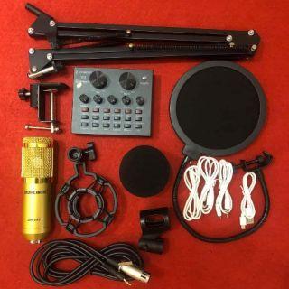 Combo míc livestream BM900 và soundcard V8 bản tiếng anh (có Autotune )