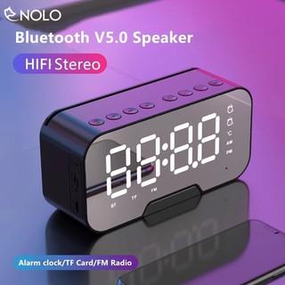 Loa Bluetooth V5.0 Thẻ Nhớ AUX FM Model K10 Tráng Gương Tích Hợp Đồng Hồ Có Báo Thức Công Nghệ Tiết Kiệm Pin Dimming