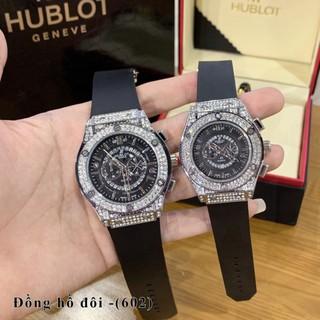 Đồng hồ nam dây da cao su Hublot -42mm và 34mm - unisex cặp đôi dây cao su -Tặng hộp da cao cấp thumbnail