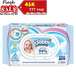 Khăn Ướt Em Bé Bobby Không Mùi - Gói nắp Nhựa 100 Miếng