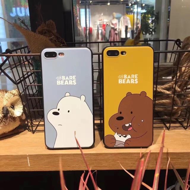 Ốp iphone 5 5S 6 6S 6PLUS 6SPLUS 7 7plus 8 8plus X xs GẤU BEAR Trắng và nâu