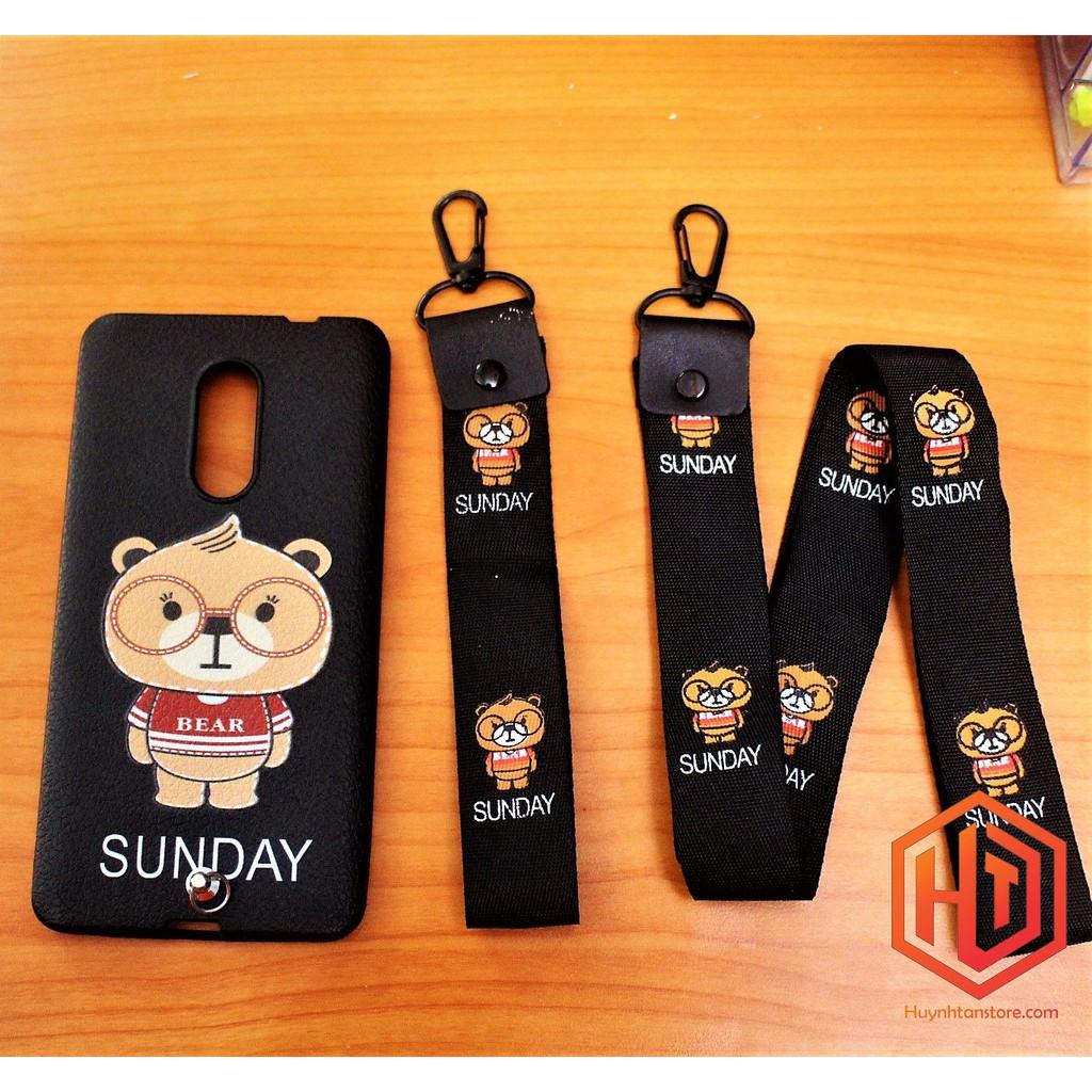 Ốp Xiaomi Redmi Note 4 / Note 4X Snap 625_ Ốp lưng dẻo VÂN DA in hình GẤU kèm 2 dây đeo cực đẹp