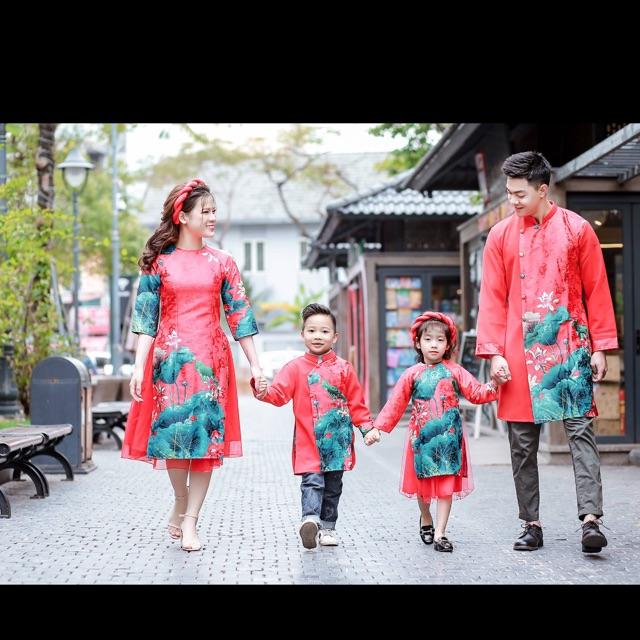 Áo dài cách tân cho mẹ , bé trai, bé gái( màu trắng)