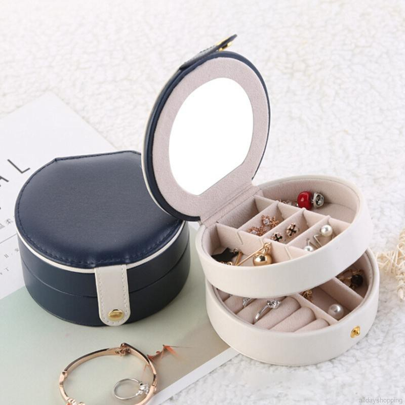 Three-layer Leather Jewelry Box PU Leather Earrings Storage Box