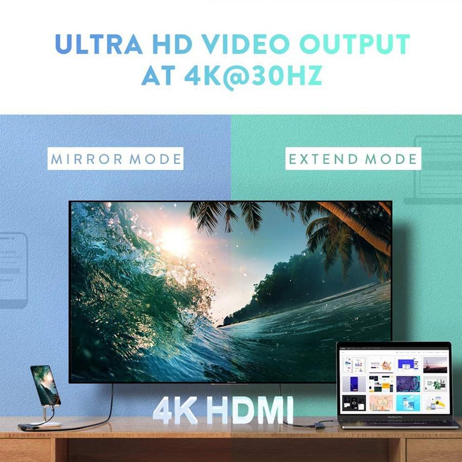 Hub USB-C đa năng 6 in 1 Ugreen 70411 ra HDMI, USB 3.0, USB PD, khe đọc thẻ nhớ - HapuStore