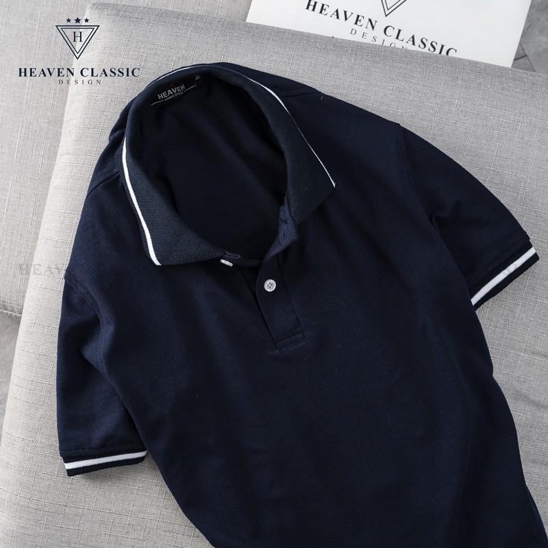 Áo thun nam viền cổ và tay màu tím than hàng may kĩ cao cấp,vải cotton mềm mịn
