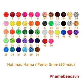 [HÀNG CÓ SẴN] 1000 hạt Perler beads, Hama beads, Hạt màu kì thú (Loại to 5mm) – 50 màu