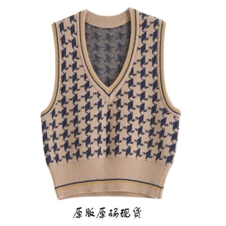 20 autumn and winter French style retro easy matching V-neck houndstooth wool blended vest thick small style women's