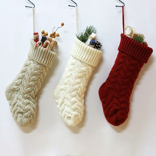 Christmas Decoration Stocking Cuffed Sock Knitted Candy Gift