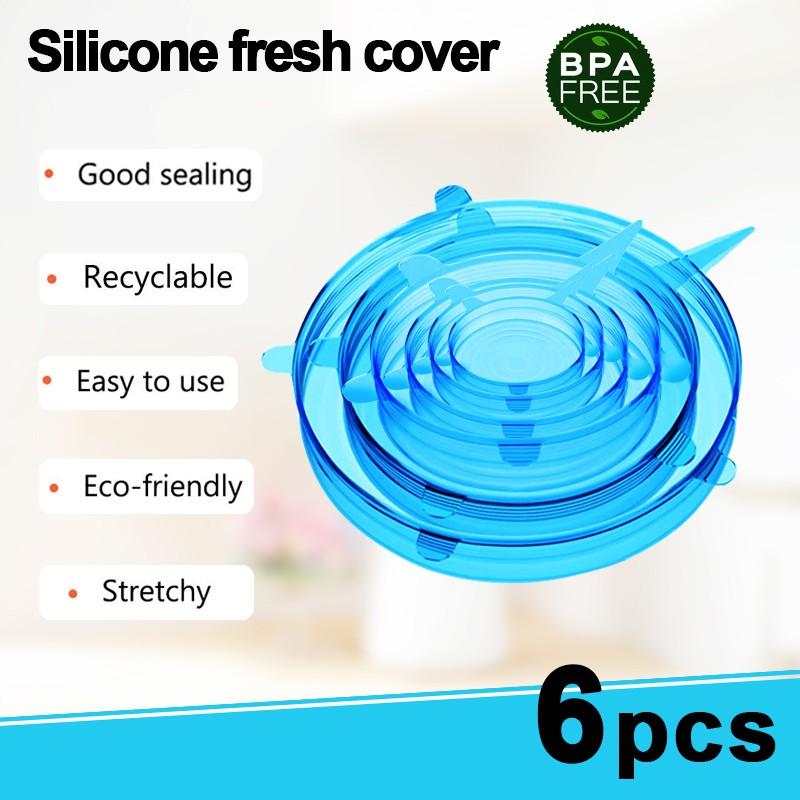 Set 6 nắp silicon bọc thực phẩm sử dụng nhiều lần tiện