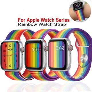Dây đeo họa tiết cầu vồng bằng silicone/milan cho Apple Watch 5 4 3 Dây 44 MM 40MM 38mm 40mm