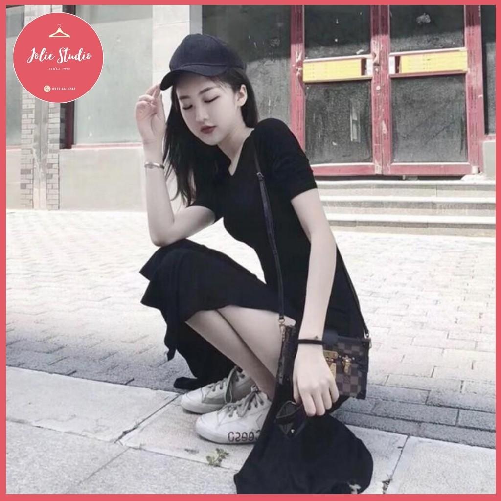 Váy Đen Thun Lạnh Quảng Châu - Co Giãn 4 Chiều, Không Xù, Không Bai Dão