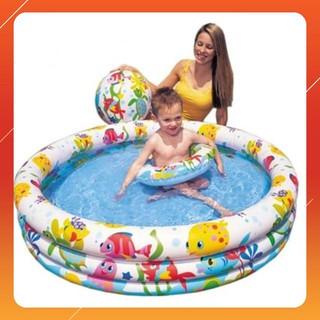 [KA] Bộ bể bơi Intex 3 tầng kèm phao bơi và bóng 1m32x28cm