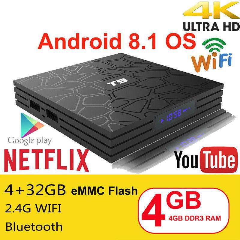 TV Box T9 4GB Ram 32GB Rom, Quad Core Android 8.1 Bluetooth 4.0 H2.65 4K Smart TV 2.4G Wifi
