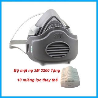 Khẩu trang,mặt nạ phòng chống khí độc cao cấp 3M- kèm 10 miếng lọc thay thế