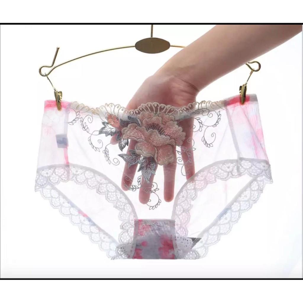 Bộ 4 quần lót nữ ren thêu hoa hồng- Quần lót xuyên thấu đầy cám dỗ XUẤT NHẬT MỖI QUẦN 1 TÚI ZIP | BigBuy360