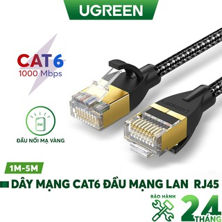Dây mạng Cat6 2 đầu mạng lan RJ45 kết nối mạng lan từ modem, router đến máy tính, TV UGREEN NW117