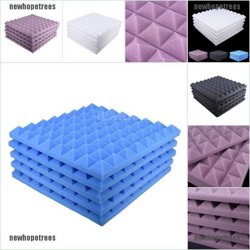 newhopetree 5pcs/set 50x50 Soundproofing Foam Studio Acoustic Sound Absorption Wedge Tile {NEW}