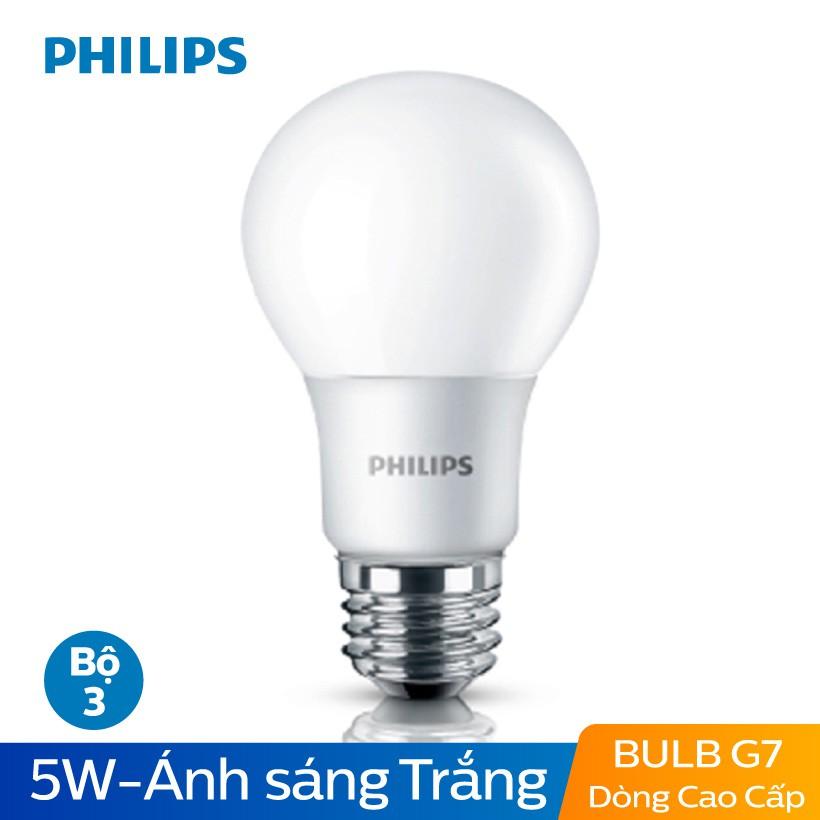 Bộ 3 Bóng đèn Philips LED Gen7 siêu sáng tiết kiện điện 5W 6500K E27 230V A60 - Ánh sáng trắng