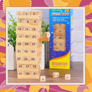 Đồ chơi rút gỗ 54 miếng xếp số xếp chồng cao tầng xây dựng khối cỡ nhỏ