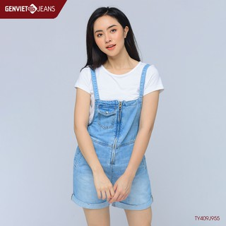 Quần Short Yếm Jeans Nữ TY409J955 GENVIET thumbnail