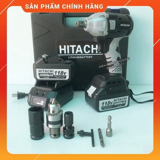 [CHÍNH HÃNG] Máy siết bulong Hitachi 118v – 2 PIN – Đầu 2 trong 1 – KHÔNG CHỔI THAN – TẶNG BỘ PHỤ KIỆN [CAM KẾT CHÍNH HÃ