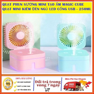 Quạt phun sương mini để bàn gấp gọn kiêm đèn ngủ Magic Cube 3 tốc độ tiện lợi hơn quạt mini cầm tay, quạt tích điện 3W
