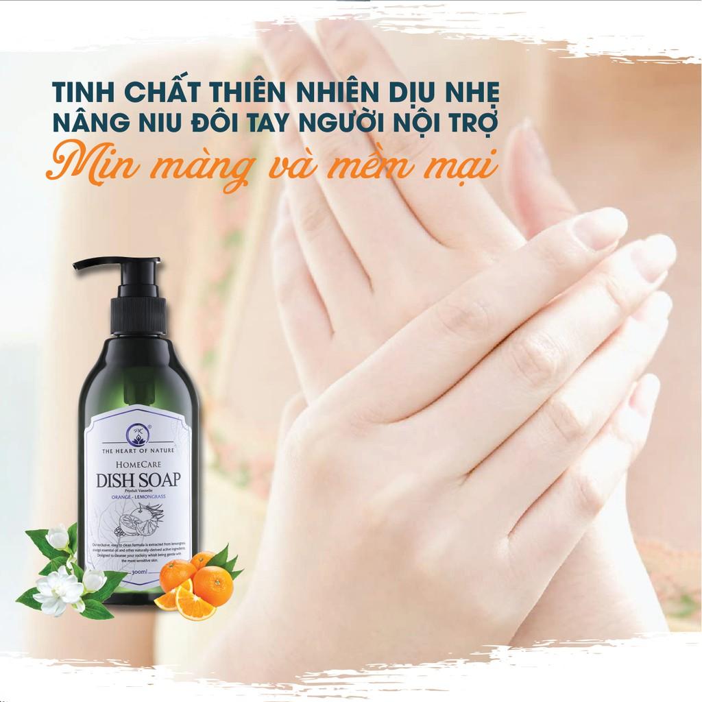Nước rửa chén tinh dầu Sả Cam thảo mộc PK 1000ml - thành phần hữu cơ, an toàn da tay.