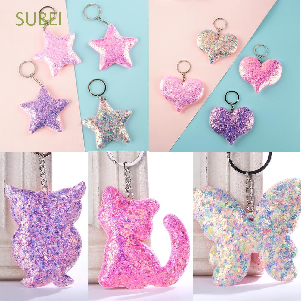 SUBEI Women Men Car Animal Pattern Jewelry Bag Accessories Sequins Keychain
