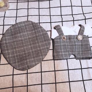 Set yếm caro vs mũ doll 15cm và 20cm