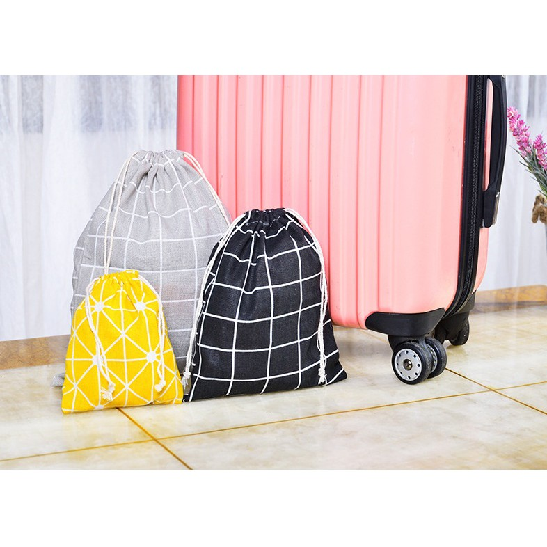 Túi vải canvas đựng giày, đựng đồ tiện ích đi du lịch, phong cách decor, nhiều kích thước, tiện lợi