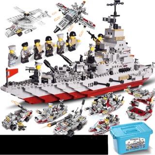 [Loại 1 FREESHIP 70k] Bộ xếp hình Lego chiến hạm tàu chiến 8 trong 1, có hộp nhựa