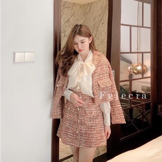 [Mã WAJAN27 hoàn 15% xu đơn 300k] Set dạ Tweed (2 màu) áo khoác + chân váy