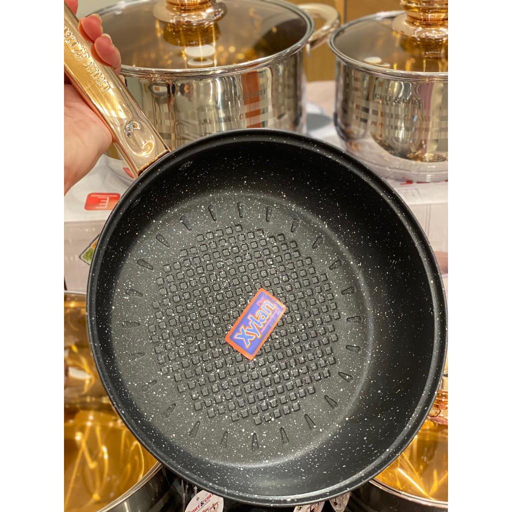 Bộ Xoong Nồi Chảo 6 Món chống dính inox cao cấp (Nấu được bếp từ, vung kính)