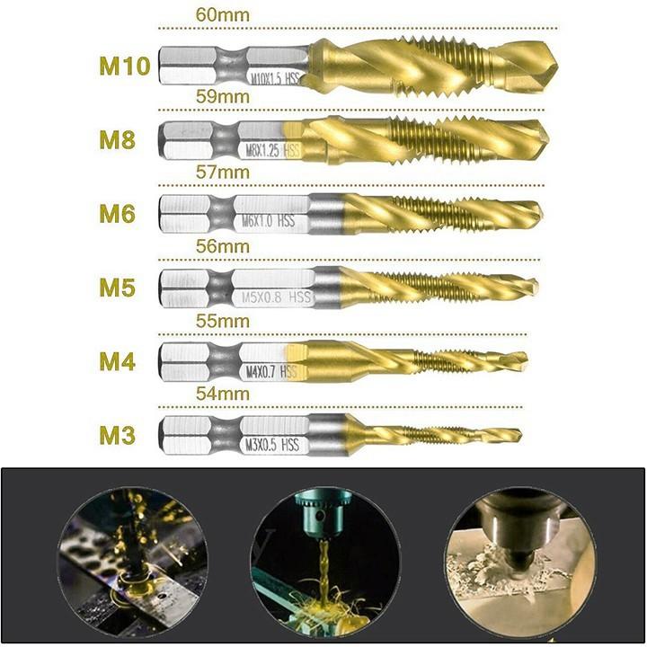 Bộ 6 mũi khoan Taro tạo ren HSS 4341 - Phụ kiện máy khoan  Mũi Khoan Tạo Ren Taro Mạ Titan M3-M10