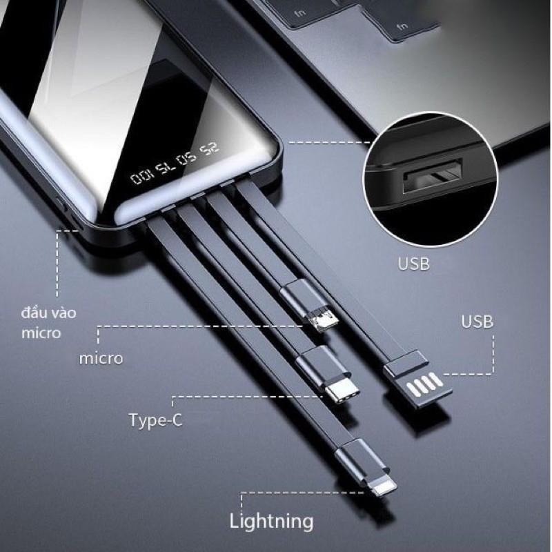 Sạc dự phòng có dây sạc nhanh type c, lightning, micro usb 5000mah 2.1A giá rẻ - Memotop
