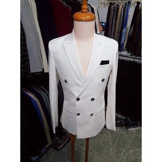 Yêu ThíchBộ vest nam ôm body 6 nút màu trắng lịch lãm + cà vạt kẹp nơ