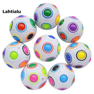 Lahtialu Kids Adult Rainbow Football Creative Stress Reliever Magic Ball Puzzle Toy Gift
