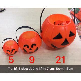 Giỏ bí đỏ Halloween đựng kẹo có đèn 3 size