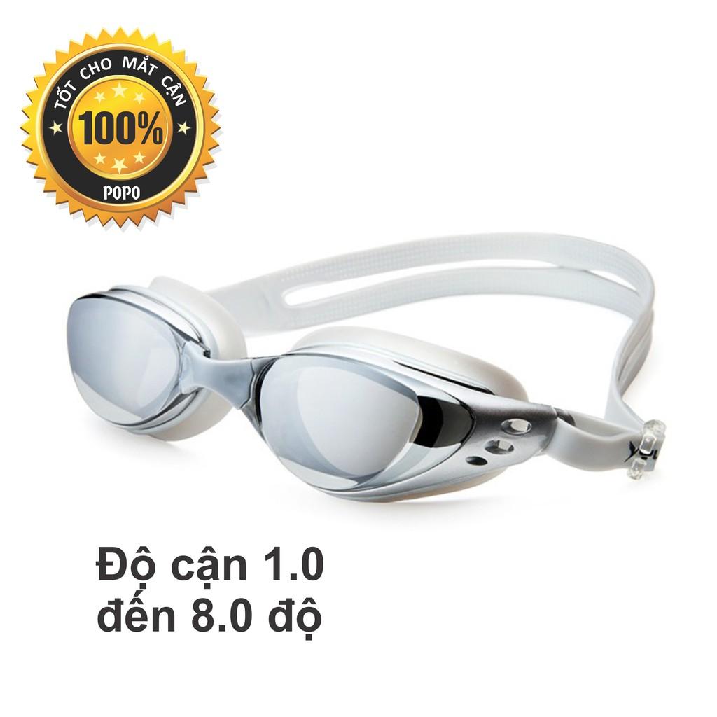 Kính bơi cận 1,0 đến 8.0 độ thế hệ mới 610 Bạc kiểu dáng thời trang nhỏ gon, chống UV, chống sương mờ POPO Collection