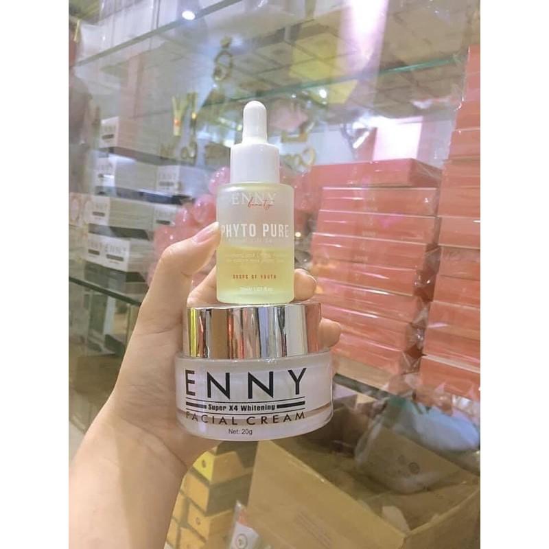 [Combo kem facex4 Enny+Serum Enny] siêu căng bóng trắng hồng tặng 2 sữa rửa mặt Enny