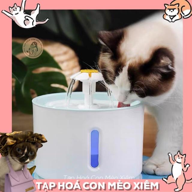 [ĐÈN LED- TẶNG SẠC USB] Máy lọc nước cho chó mèo có đèn Led - Đài phun nước thông minh loại tốt