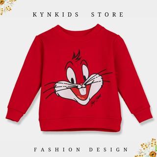 Áo thu đông dài tay cho bé gái 1 - 6 tuổi màu đỏ, áo nỉ áo len màu đỏ, thời trang trẻ em KYNKIDS ATDM0001