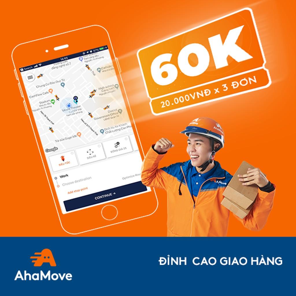 Người Mới [E-Voucher] - Ưu đãi 60K cho 3 đơn vận chuyển với AhaMove