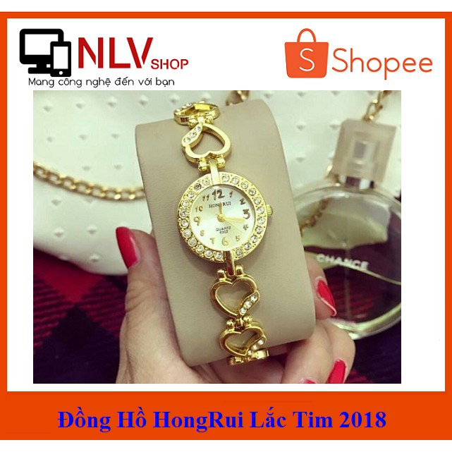 🎁Deal Hot🎁 Đồng hồ Nữ HongRui dây vàng thời trang (Trắng -